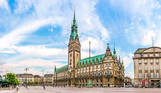 Hamburg town hall at market square in Altstadt quarter, Germany