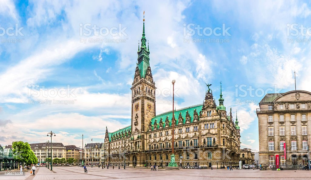Hamburg town hall at market square in Altstadt quarter, Germany stock photo