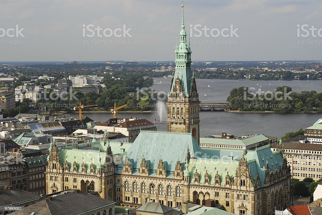 hamburg town hall royalty free stockfoto