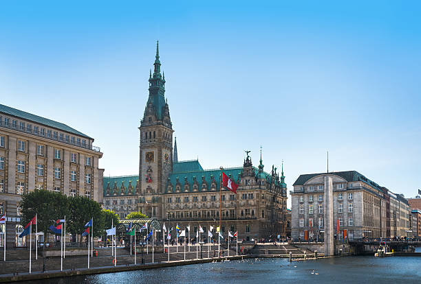 Hamburg town hall with alster stock photo