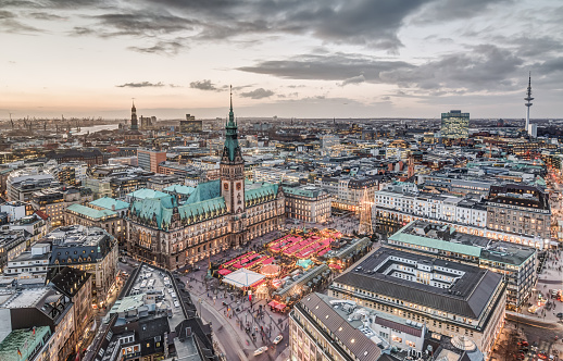 Hamburg Town Hall with Christmas Market
