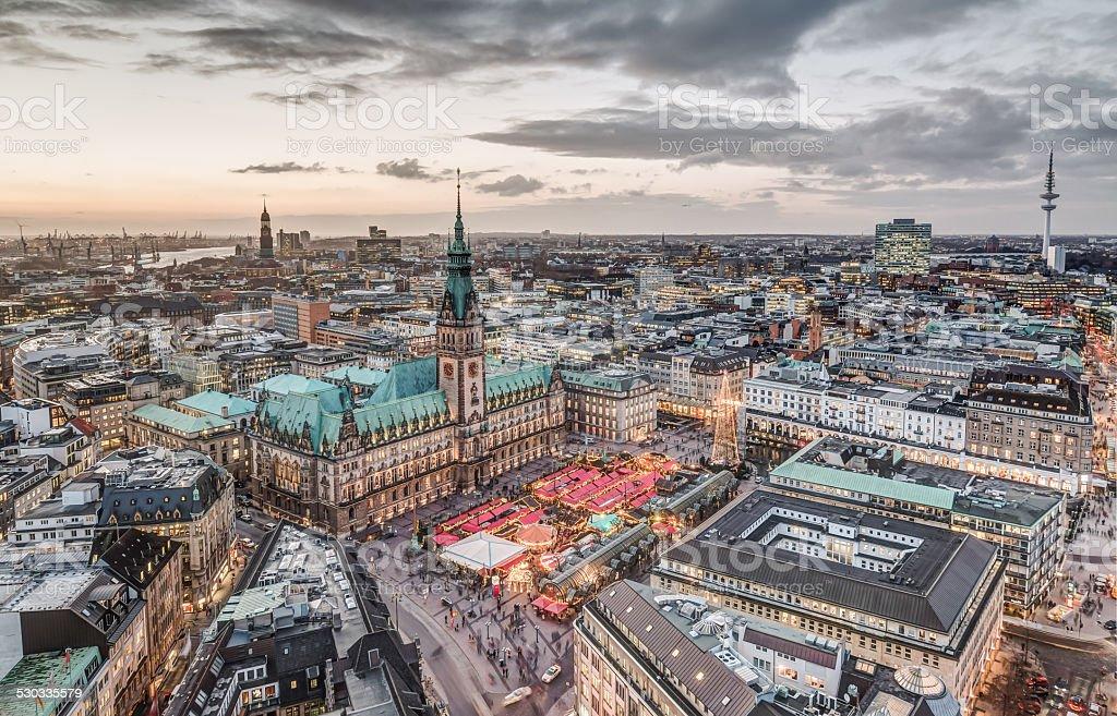 Hamburg Town Hall with Christmas Market stock photo