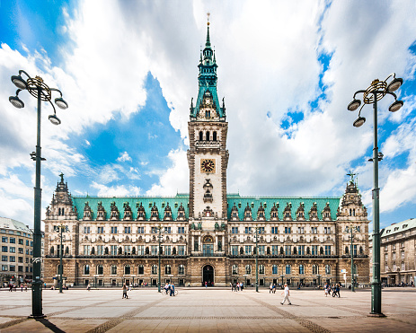 Hamburg town hall with dramatic clouds, Germany