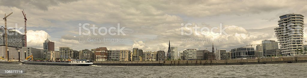 Hamburg view from the river elbe - Panorama royalty-free stock photo