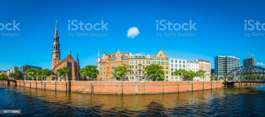 Hamburg Zollkanal waterfront Speicherstadt bridges and villas panorama Germany stock photo