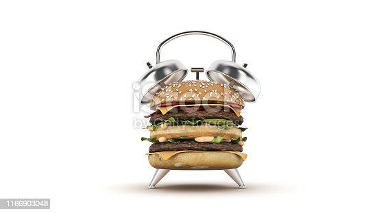 1156991909 istock photo hamburger alarm clock. 3d rendering 1166903048