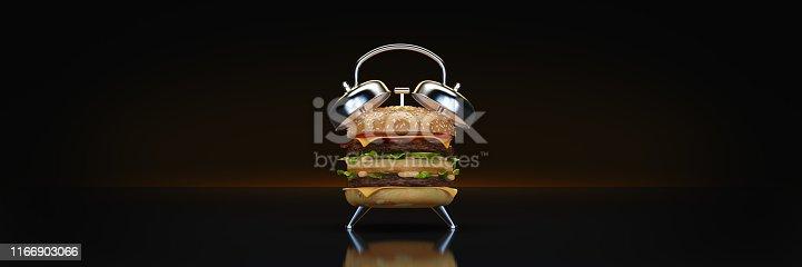 1156991909 istock photo hamburger alarm clock. 3d rendering 1166903066