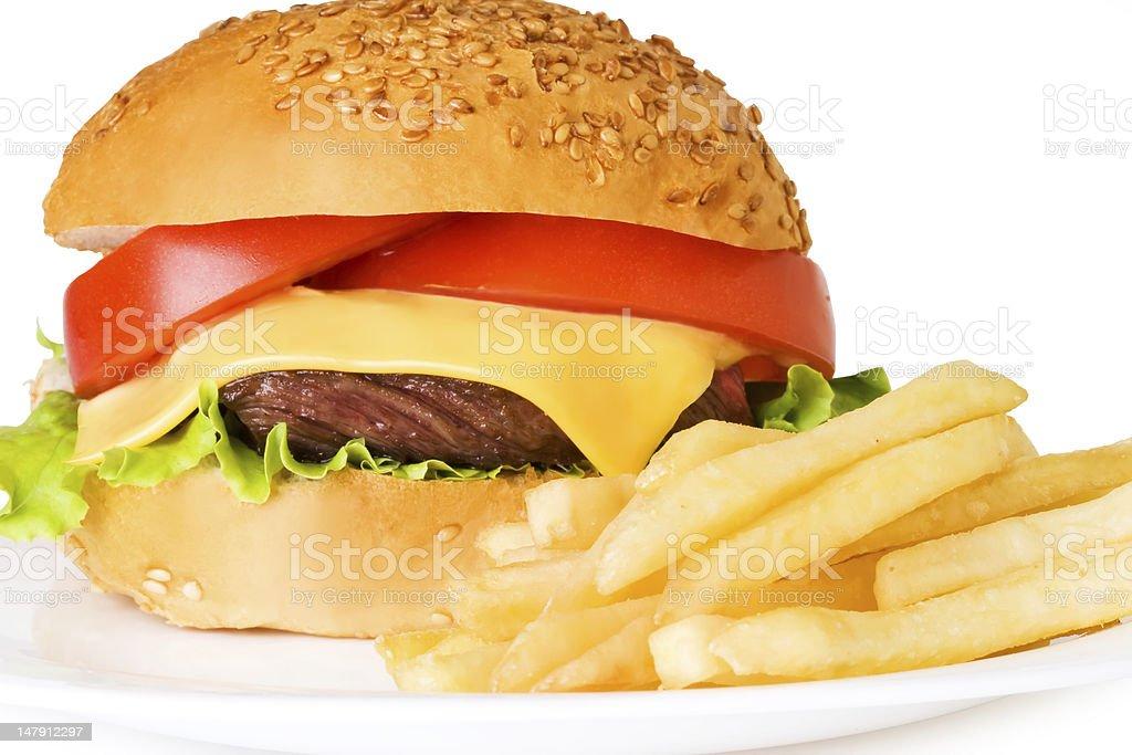 hamburger and french fries royalty-free stock photo