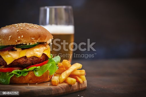 Fresh Hamburger And French Fries With Vegetable