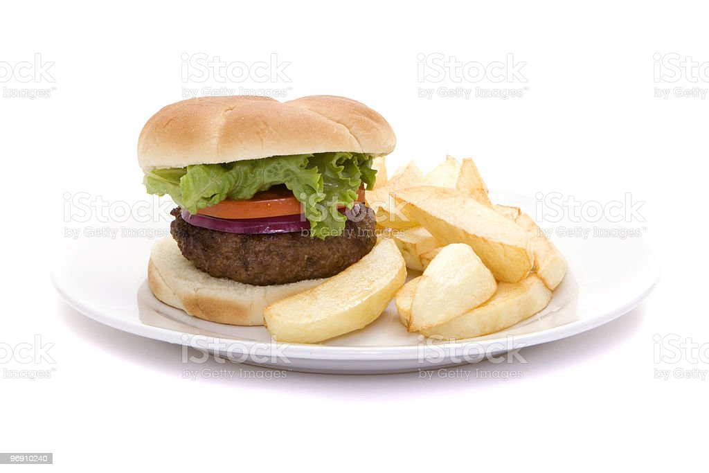 Hamburger and french fries royalty-free stock photo