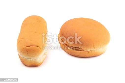 534317162istockphoto Hamburger and Hot Dog Buns on a White Background 1030095282