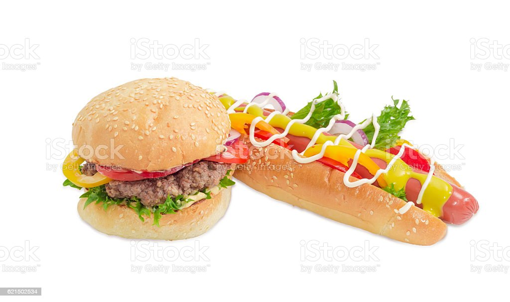 Hamburger and hot dog with frankfurter on a light background photo libre de droits