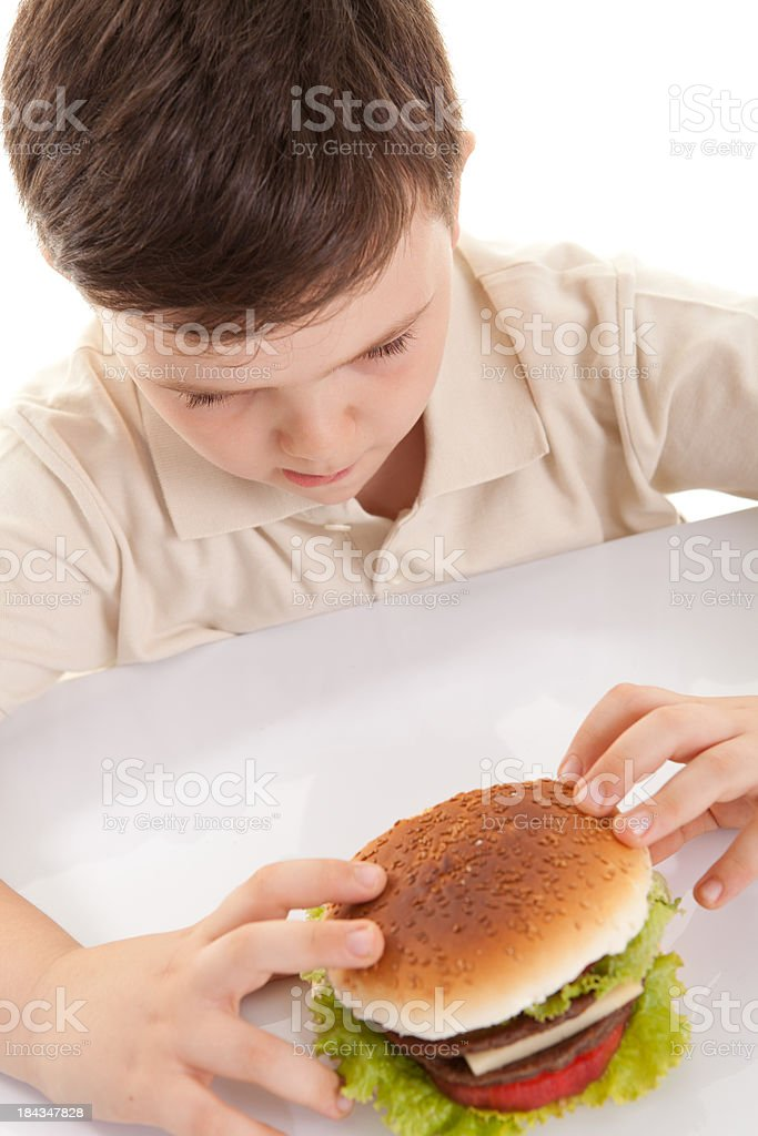 Hamburger and Little Boy royalty-free stock photo