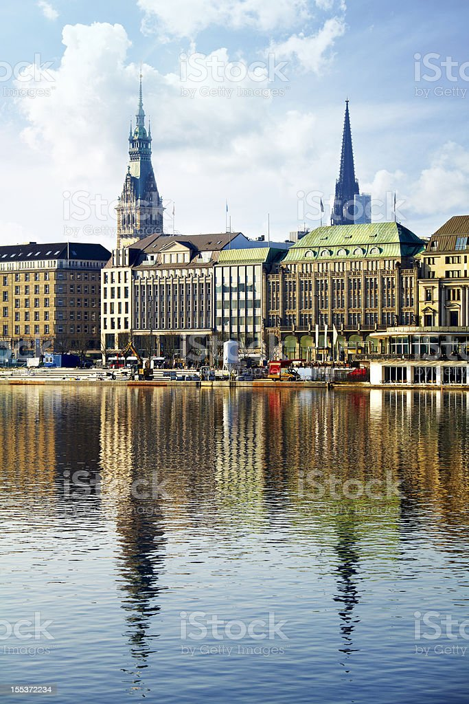 Hamburger Binnenalster churches along the water royalty-free stock photo