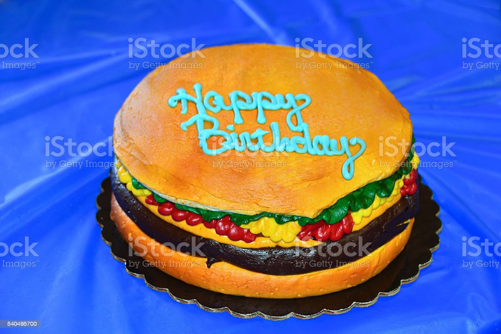 Groovy Hamburger Birthday Cake Stock Photo Download Image Now Istock Funny Birthday Cards Online Inifodamsfinfo