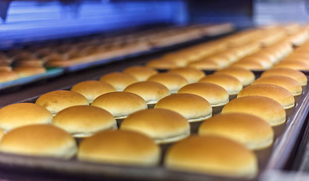 Hamburger breads Hamburger breads goes out from bakery. sweet bun stock pictures, royalty-free photos & images