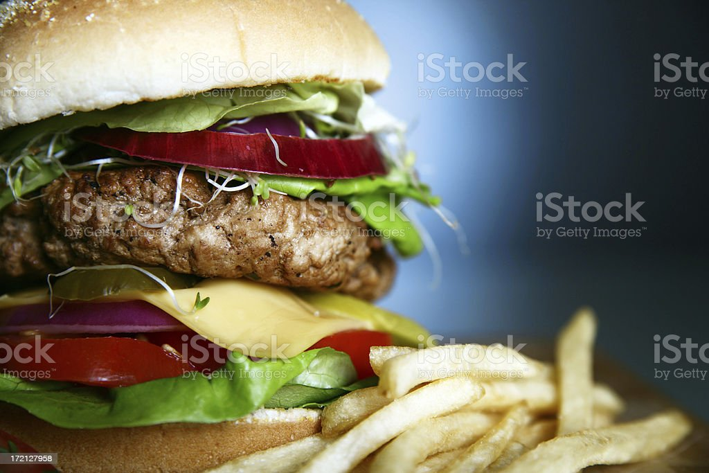 Hamburger Close up on blue royalty-free stock photo