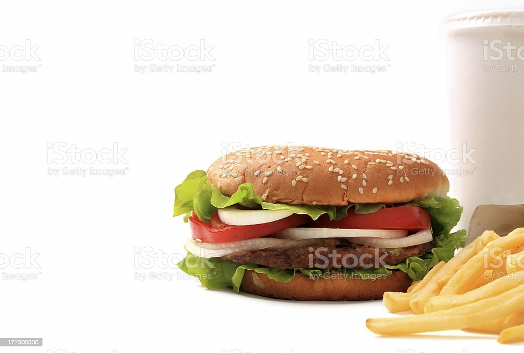 Hamburger, cola and french fries stock photo