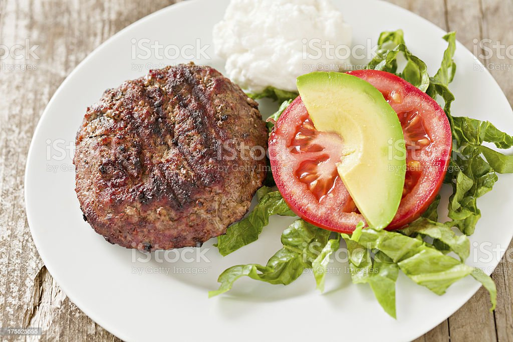 Hamburger Diet Plate royalty-free stock photo