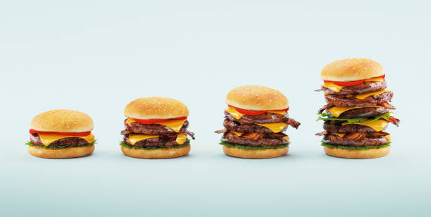 Hamburger. Fast food diet concept, Compulsive overeating and dieting. 3d rendering stock photo