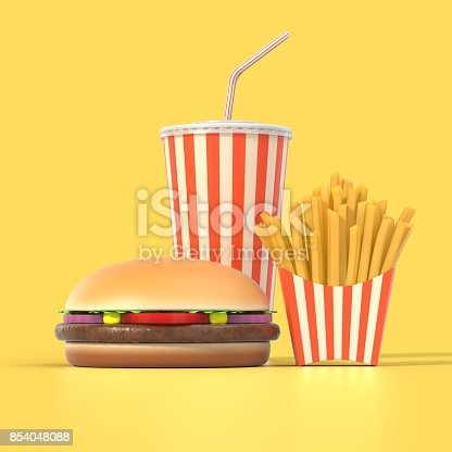 istock Hamburger, french fries and cola fast food meal 854048088