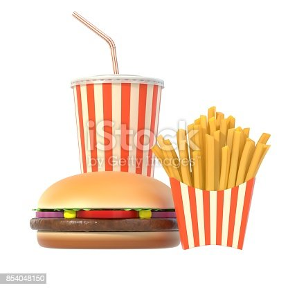istock Hamburger, french fries and cola fast food meal 854048150