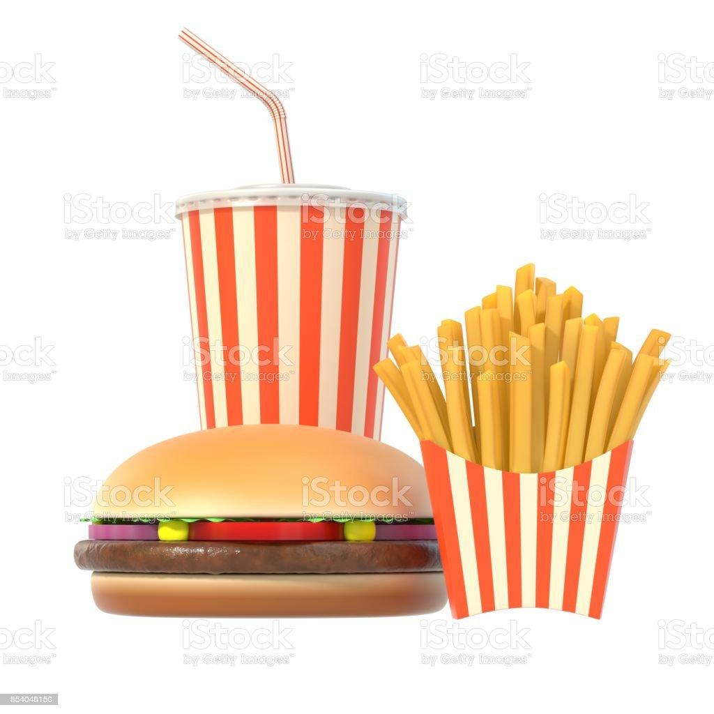 Hamburger, frites en cola fast-food maaltijd foto