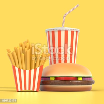 istock Hamburger, french fries and cola fast food meal 866725174