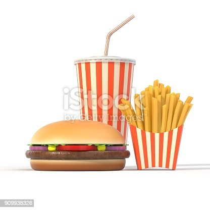 istock Hamburger, french fries and cola fast food meal 909938326