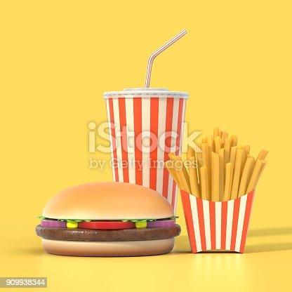 istock Hamburger, french fries and cola fast food meal 909938344
