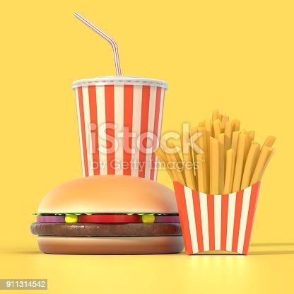 istock Hamburger, french fries and cola fast food meal 911314542