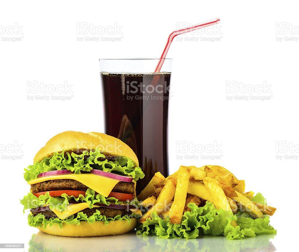hamburger, Pommes Frites und Getränk – Foto