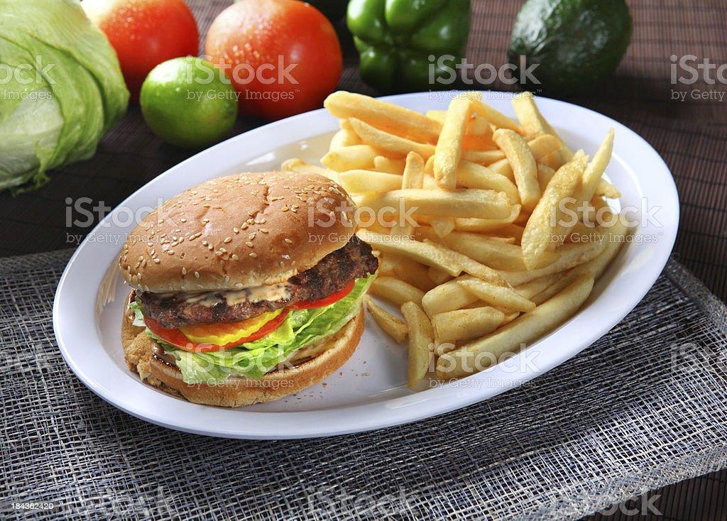 Hamburger & French Fries royalty-free stock photo