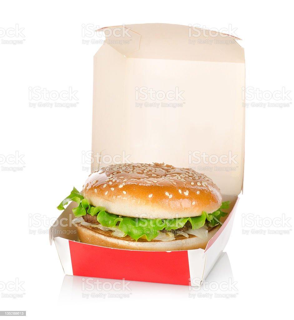 Hamburger dans la formule isolé - Photo