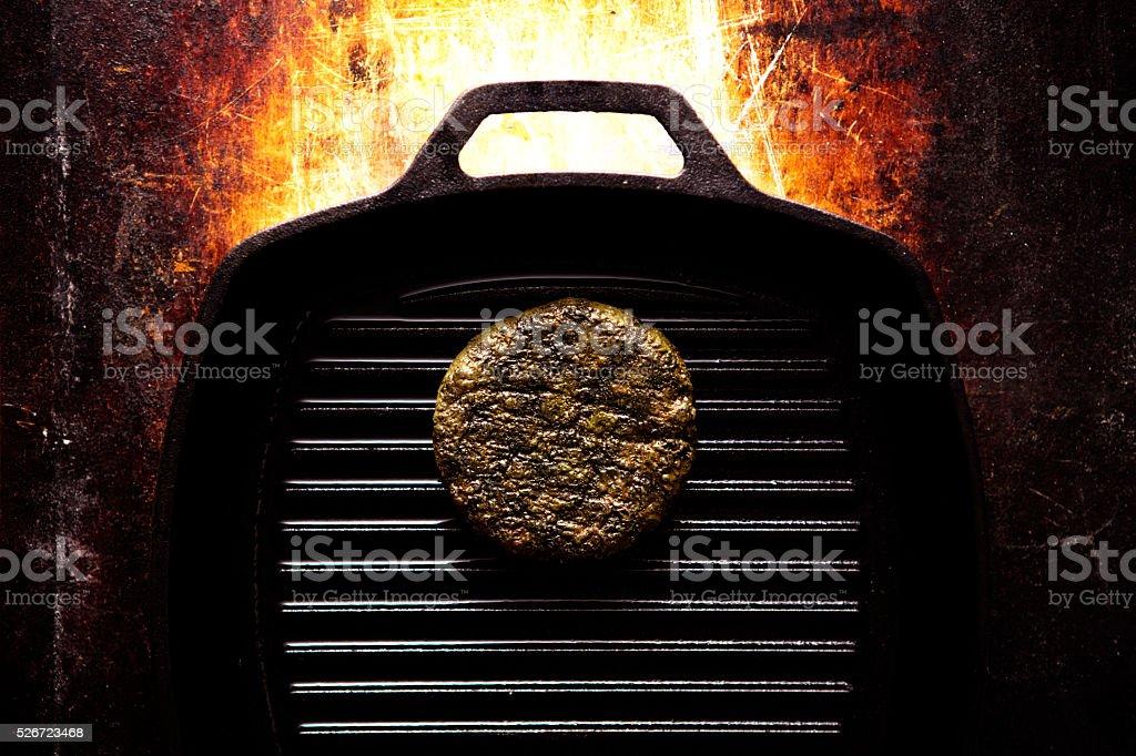 Hamburger In Pan stock photo