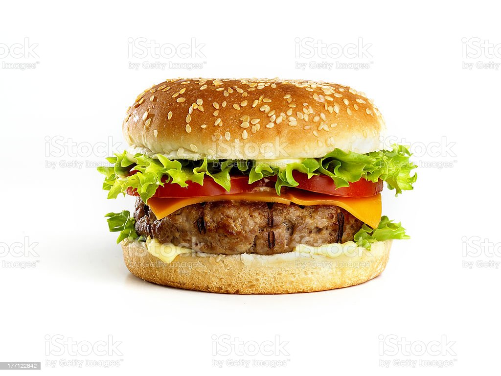 hamburger isolated stock photo