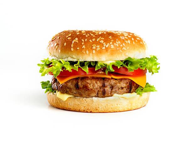 hamburger isolated stock photo