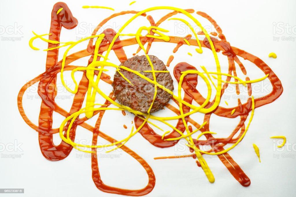 Hamburger, Ketchup and Mustard stock photo