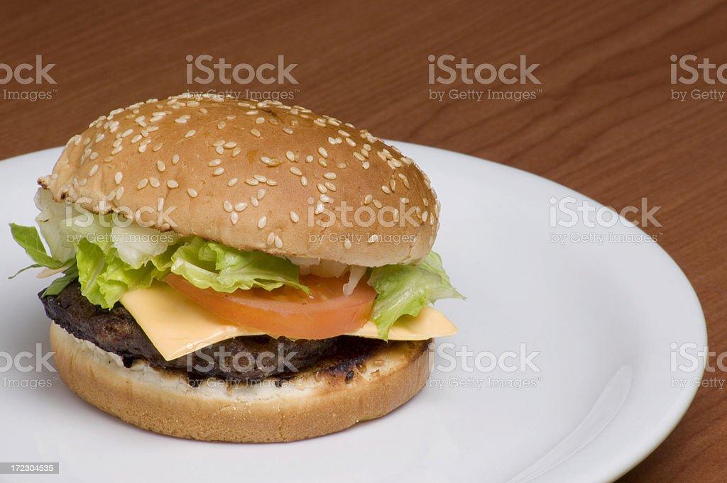 Hamburger on a plate royalty-free stock photo