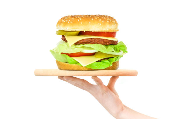 hamburger on a wooden tray - serving size stock photos and pictures