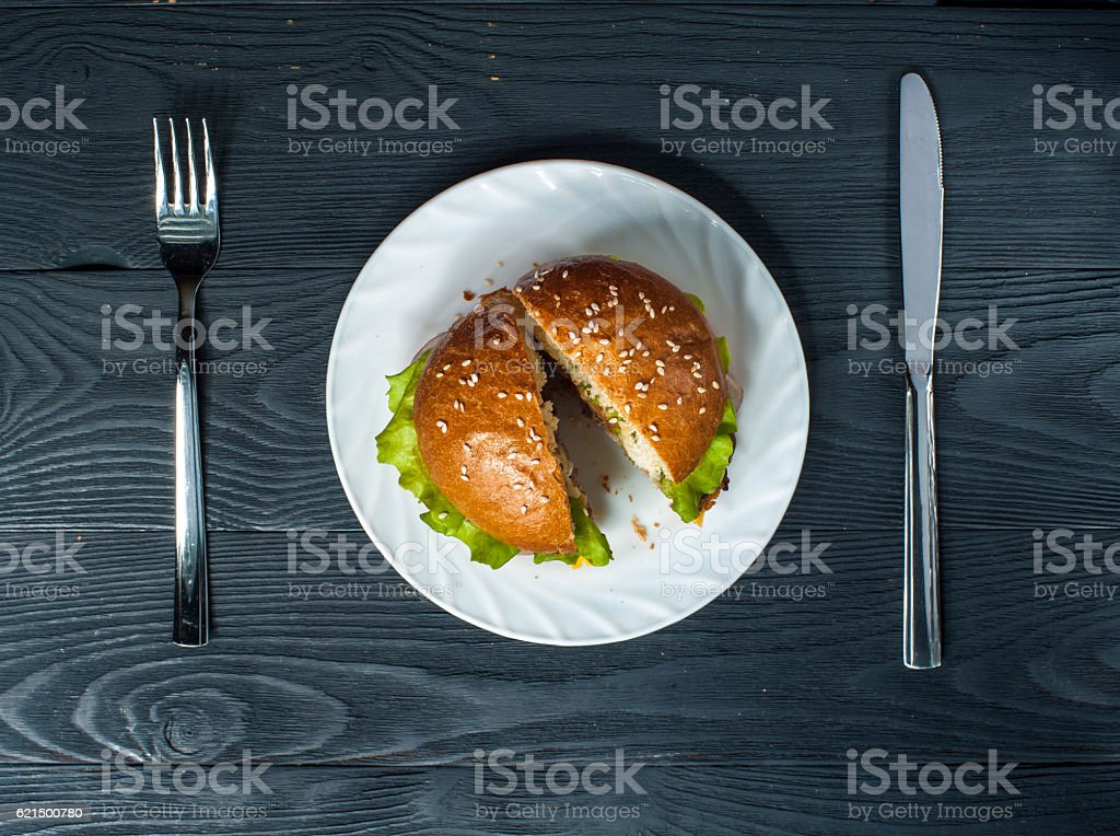 Hamburger on plate with fork and knife Lizenzfreies stock-foto