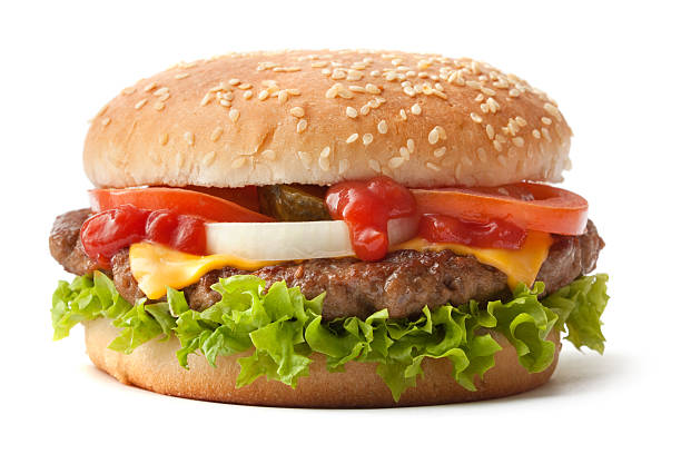hamburger on sesame seed bun with fixings - cheeseburger 個照片及圖片檔