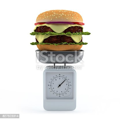 istock Hamburger on weighing scale. 827523314