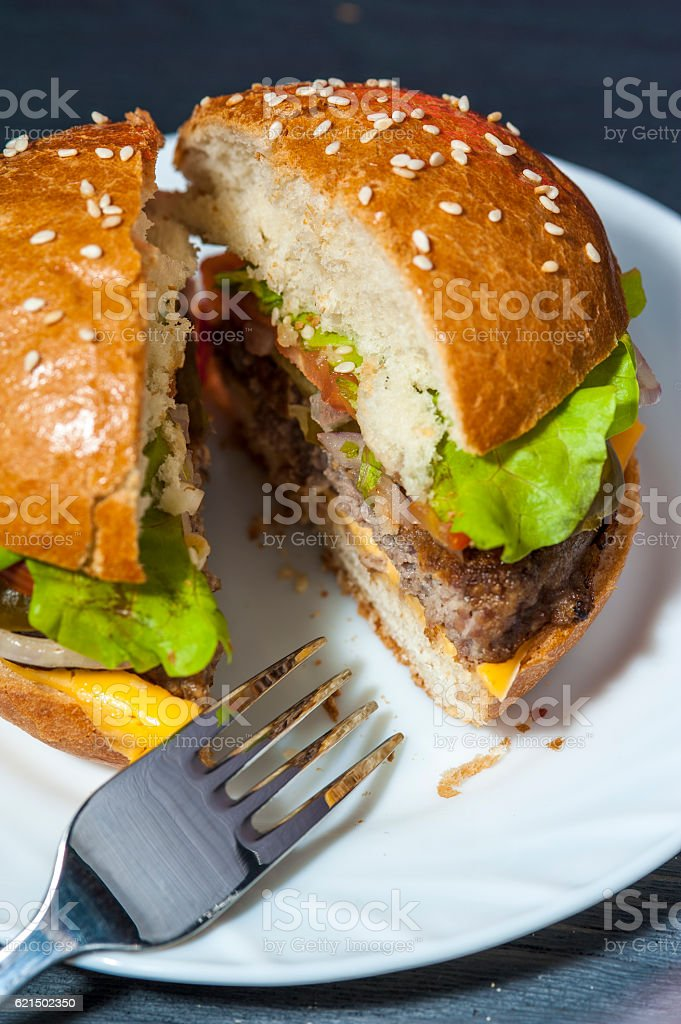 Hamburger on white plate with fork foto stock royalty-free