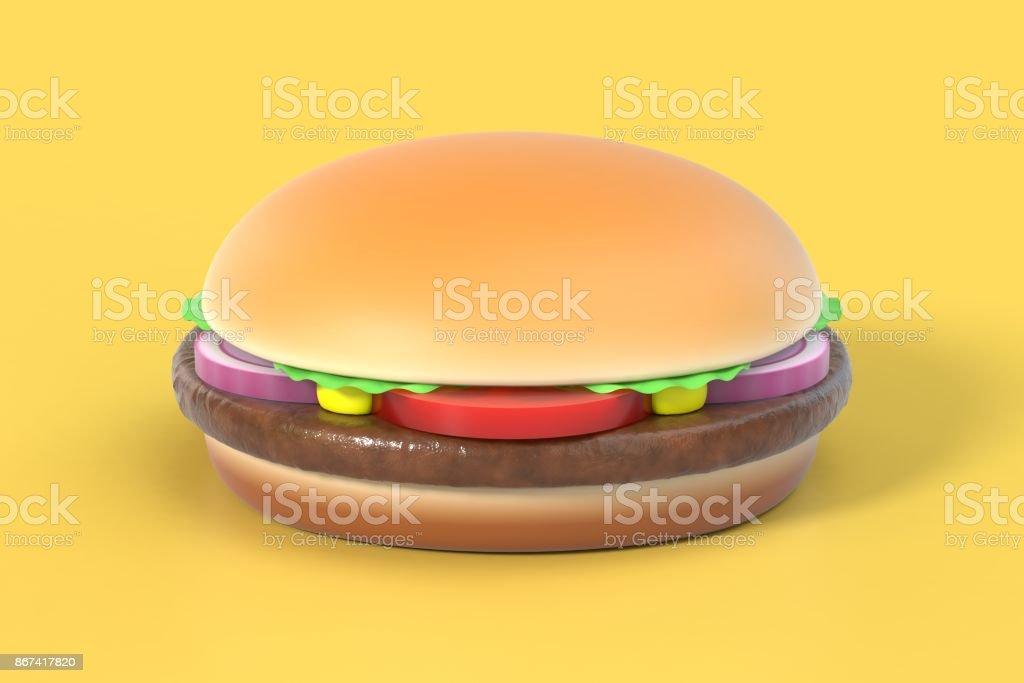 Hamburger on yellow background stock photo