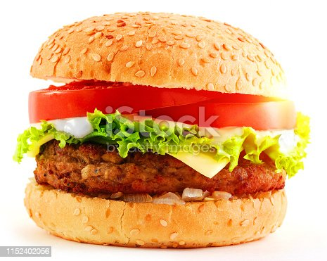 Delicious Hamburger isolated on white background