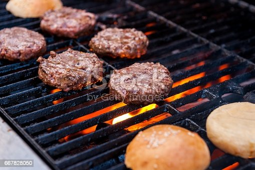 Summer grilling burgers on the garden grill