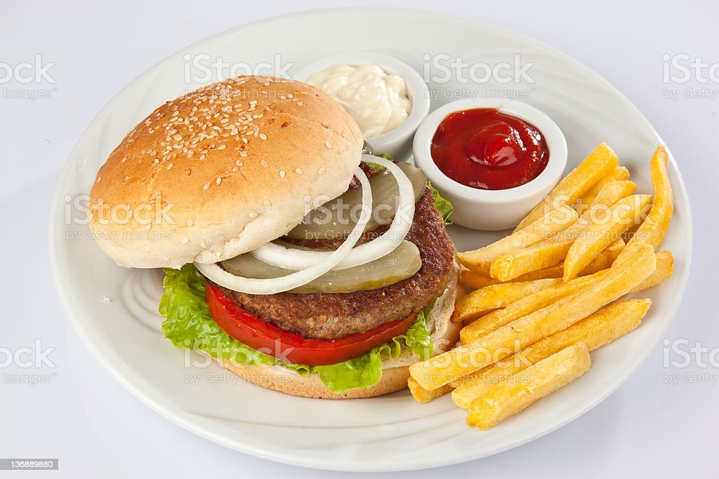 hamburger plate with fries royalty-free stock photo