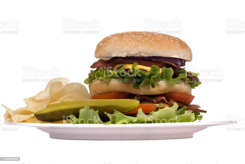 Hamburger Series (Bacon cheeseburger on plate) royalty-free stock photo