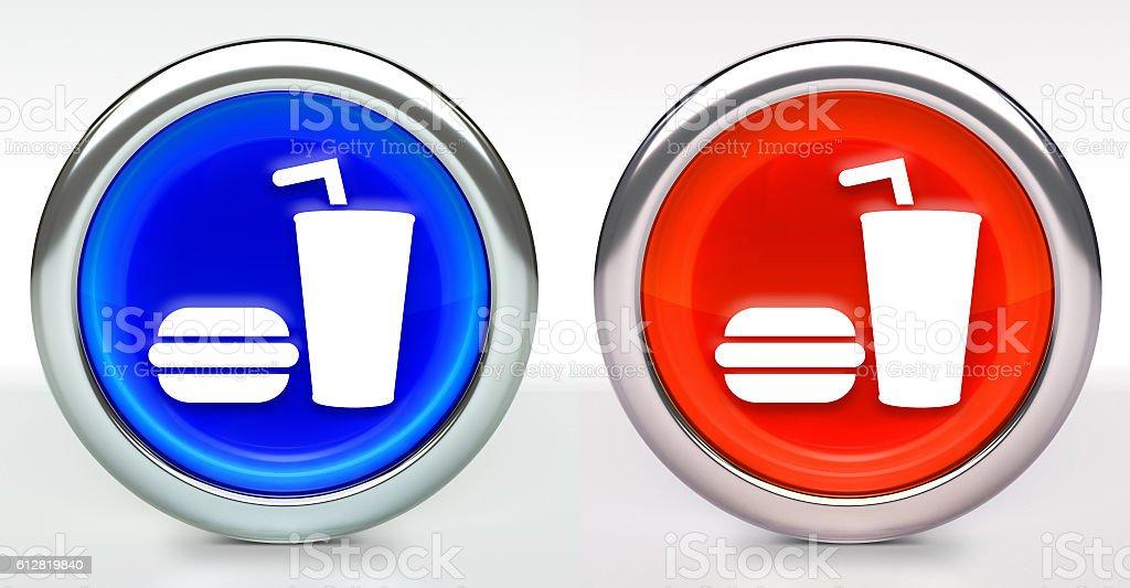Hamburger & Soda Icon on Button with Metallic Rim stock photo
